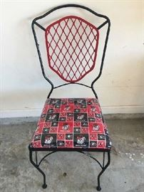 UGA Chairs. Made from iron. Heavy duty. Seats covered in heavy plastic.