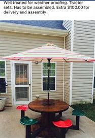 6 seat Spool Patio Set. Heavy Duty. Never used. Umbrella is new. Whole thing has been stored in my garage. $300.00