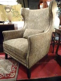 $665.00 PAIR BERNHARDT INTERIORS WING CHAIRS WITH NAILHEAD TRIM