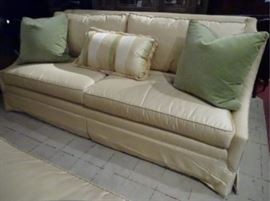 $545.00 each TWO EJ VICTOR SOFAS IN PALE YELLOW, SOLD SEPARATELY