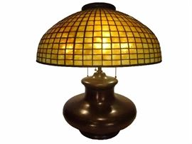 AUTHENTIC TIFFANY STUDIOS SIGNED GEOMETRIC LEADED GLASS LAMP SHADE ON BRONZE BASE, SHADE SIGNED TIFFANY STUDIOS NEW YORK 1911 - auction bidding only