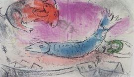 """Chagall lithograph """"Poisson Blue"""""""