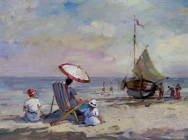Mabel May Woodward Oil Painting, Beach Scene