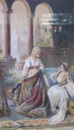 Watercolor, Middle Eastern Scene, Rug Salesman, signed Richard H. Burfoot (American)