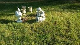 Vintage garden sculptures.
