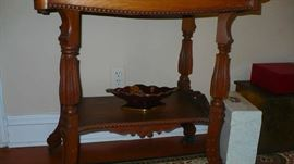 oak very ornate table    all the antiques in this home are in very fine condition