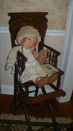 oak high chair nicest i've seen,  cloth doll