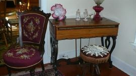 MELODIAN      NEEDLEPOINT VICTORIAN PARLOR CHAIR,  ORGAN STOOL