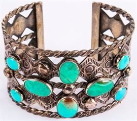 Lot 395 - Jewelry Sterling Silver Turquoise Cuff Bracelet