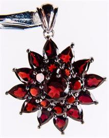 Lot 55 - Jewelry Sterling Silver Garnet Flower Pendant
