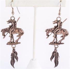 Lot 50 -  Jewelry Sterling Silver End of Trail Earrings