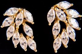 Lot 5 - Jewelry 14kt Yellow Gold CZ Cocktail Earrings