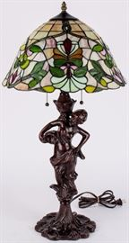 Lot 17 - Tiffany Style Stained Glass Lady Figure Table Lamp