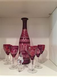 Cranberry cut to clear decanter set