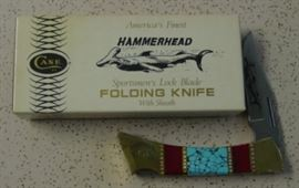 Year 1978 Case XX Hammerhead Shark Lock Blade Knife w/Blue Turquoise & Red Bloody Jasper Handles. Has Custom File Work On Blade & Spine Of Knife. Original Box & Paperwork