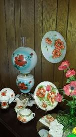 Great selection of vintage china and glass!! Plates, lamps, much Fenton-compotes, epergne,
