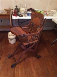 Unique antique American oak folding stroller/high chair