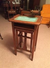 Rare American oak telephone table with fold-out chair, glass covered directory and swing out cradle for an antique candlestick phone