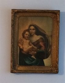 Madonna And Child - antique - Original Frame, found in an old Catholic Church in PGH