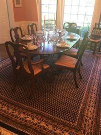 HENKEL HARRIS Virginia Galleries Mahogany Dining Room Table w/4 Leaves, 8 Chairs (2 Arm & 6 Side Chairs)