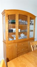 Contemporary Champagne Finish Dinec China Cabinet