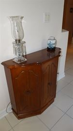 Mid Century Etched Glass Electric Lusters on Contemporary Cherry Finish Console