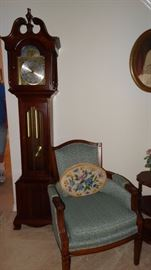 Cherry Howard Miller Grandmother Clock with Vintage Blue Upholstered Chair