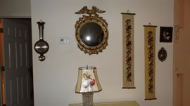 Banjo Barometer, Contemporary Federal Mirror, Needlepoint Bell Pulls, Glass Lamp with Bird Shade