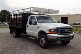 1999 Ford F450n Super Duty Slat Bed Work Truck, 132,568 Miles, Power Stroke V8 Diesel, 1FDXF46F6XEC08831, With Eagle Lift-Gate Manual Drop Electric Lift Model 50X91