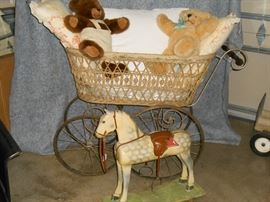 Euro. carriage, Steiff teddys,  and wooden horse