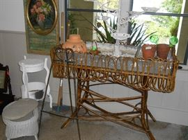 aluminum planter, floral painting, wicker stand and stool, etc.