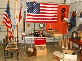 flags, militaria, and bamboo corner chair