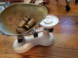 Antique shop scale with weights