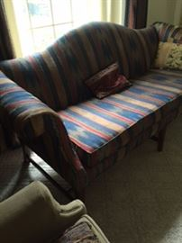 Camelback Chippendale-style sofa