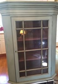 Lovely painted antique corner hutch - a cool blue/green color