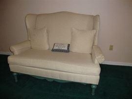 Winged back off white stripe upholstery sofa/loveseat