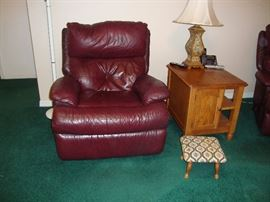 Recliner 2. Oak side table with storage. Upholstered foot stool.