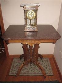 Ansonia cloisonne mantle clock, antique marble table