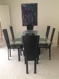Dining room table and chairs, Marble base