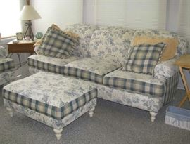 Smith Brothers furniture cottage sofa, ottoman