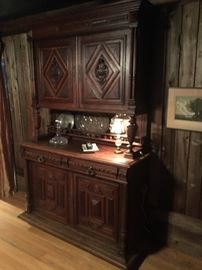 Antique English Oak Jacobean Revival Cupboard