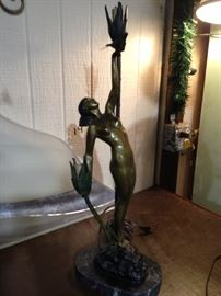 Bronze  lamp with marble base $600