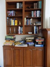 Many books, boating, biographies, WWII, Air Force, Civil War, beautiful coffee table books, many more.  Many games., puzzels