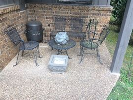 Wrought Iron Patio Set with Loveseat 2 Chairs and Table, Concrete Planter, BBQ Charcoal Grill