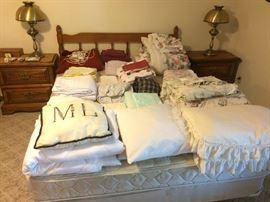 Vintage Queen Bed and Queen Mattress Set, Linens
