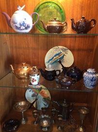 Teapots, Depression Glass, Silverplate