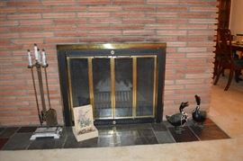 Marble fireplace poker set, small waterfall, pair of cast iron vintage ducks, and more!