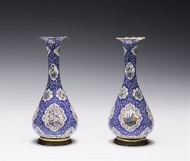 Lot 15 -Pair of Blue and White Enameled Vases