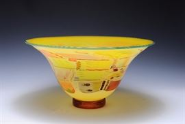 Lot 34 -Crazy Quilt Art Glass Bowl, Gordon & Pizzichillo