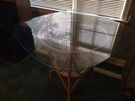 glass wicker table